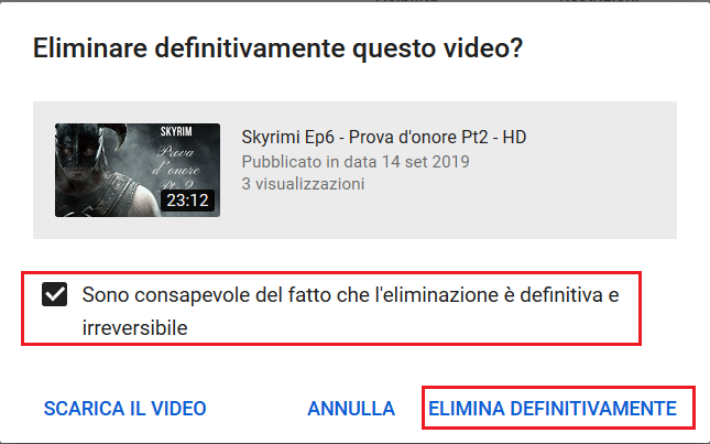 Cancellare Video da YouTube - Conferma Cancellazione