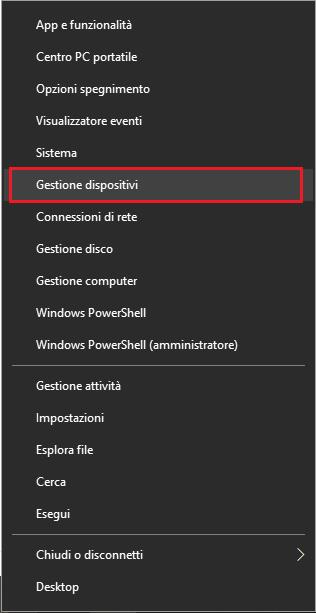 Gestione dispositivi in Windows 10
